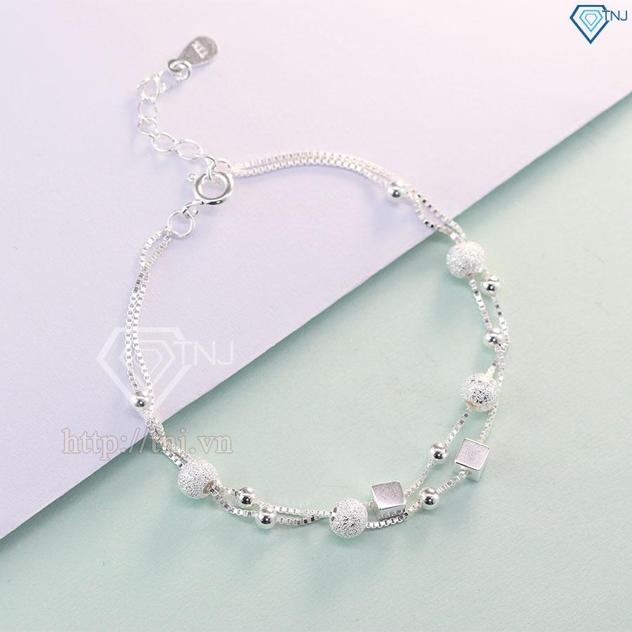 Lắc tay bạc nữ khối lập phương và vòng bi bạc LTN0097
