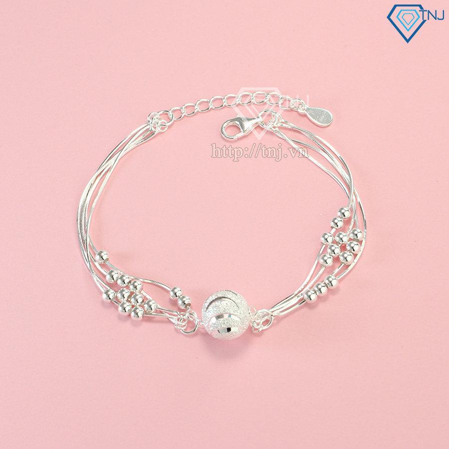 Lắc tay bạc nữ hạt tròn độc đáo và sang trọng LTN0099