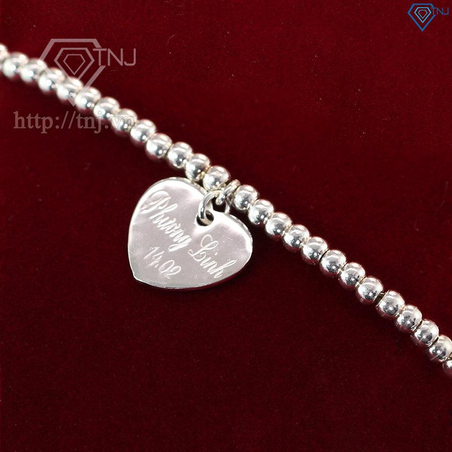 Lắc tay bạc bi nữ kết hợp trái tim khắc tên LTN0104