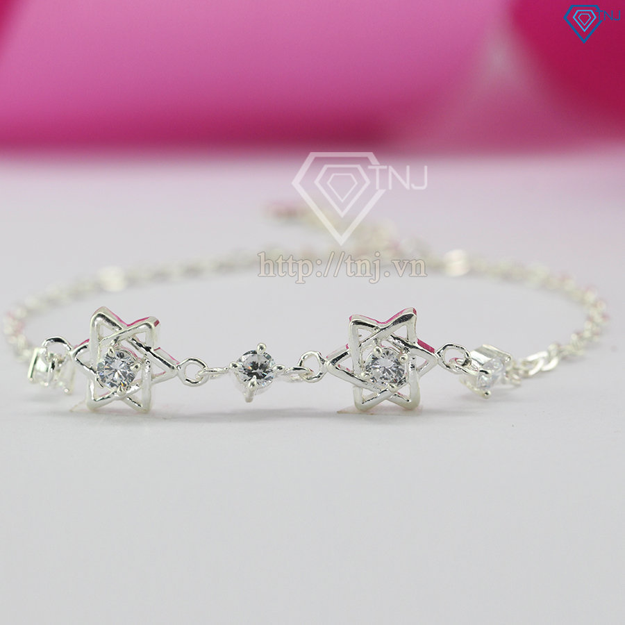 Lắc tay bạc nữ hình ngôi sao đính đá tinh tế LTN0105