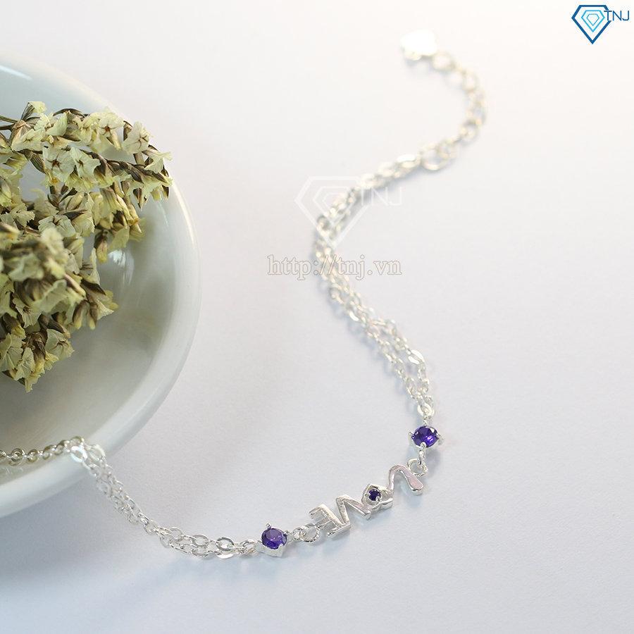 Lắc tay bạc nữ hình chữ LOVE đính đá tím đẹp LTN0134
