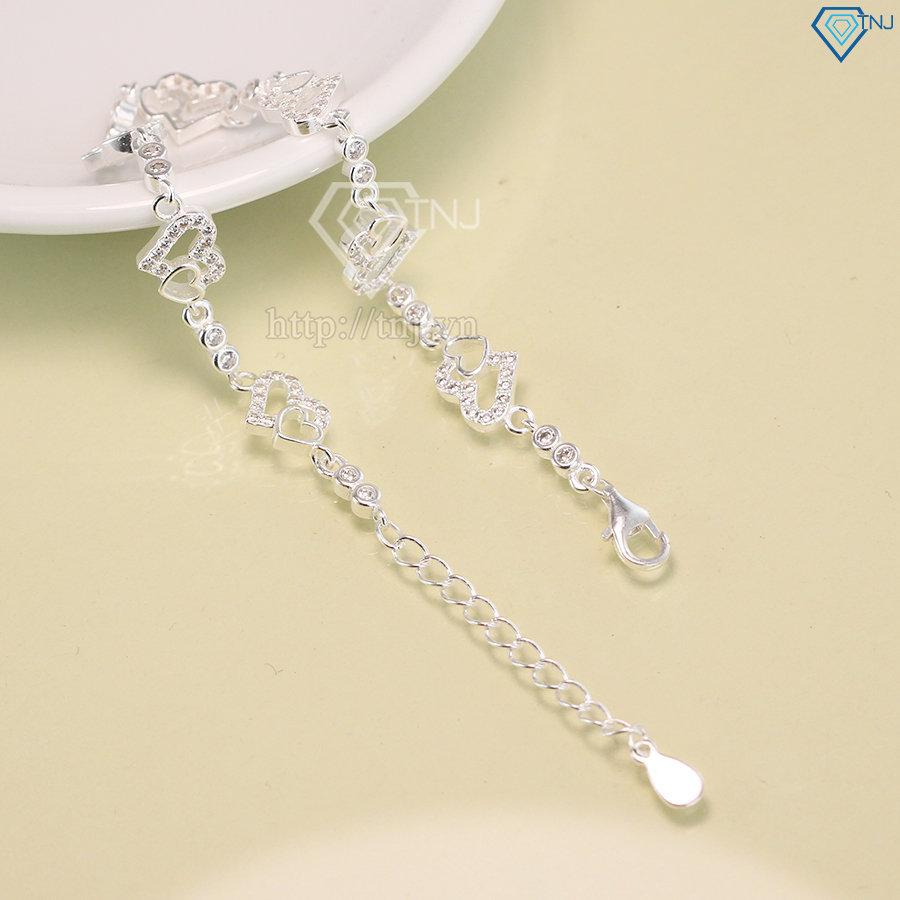 Lắc tay bạc nữ họa tiết trái tim đính đá đẹp LTN0135