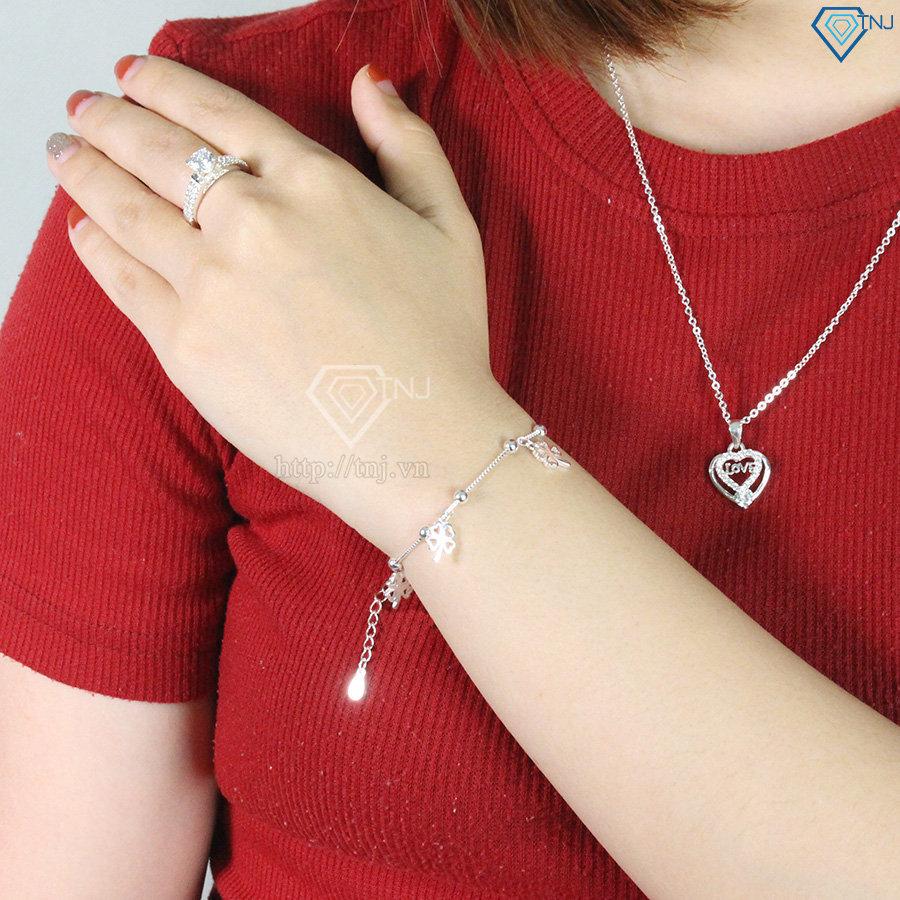 Lắc tay bạc nữ cỏ 4 lá may mắn LTN0137