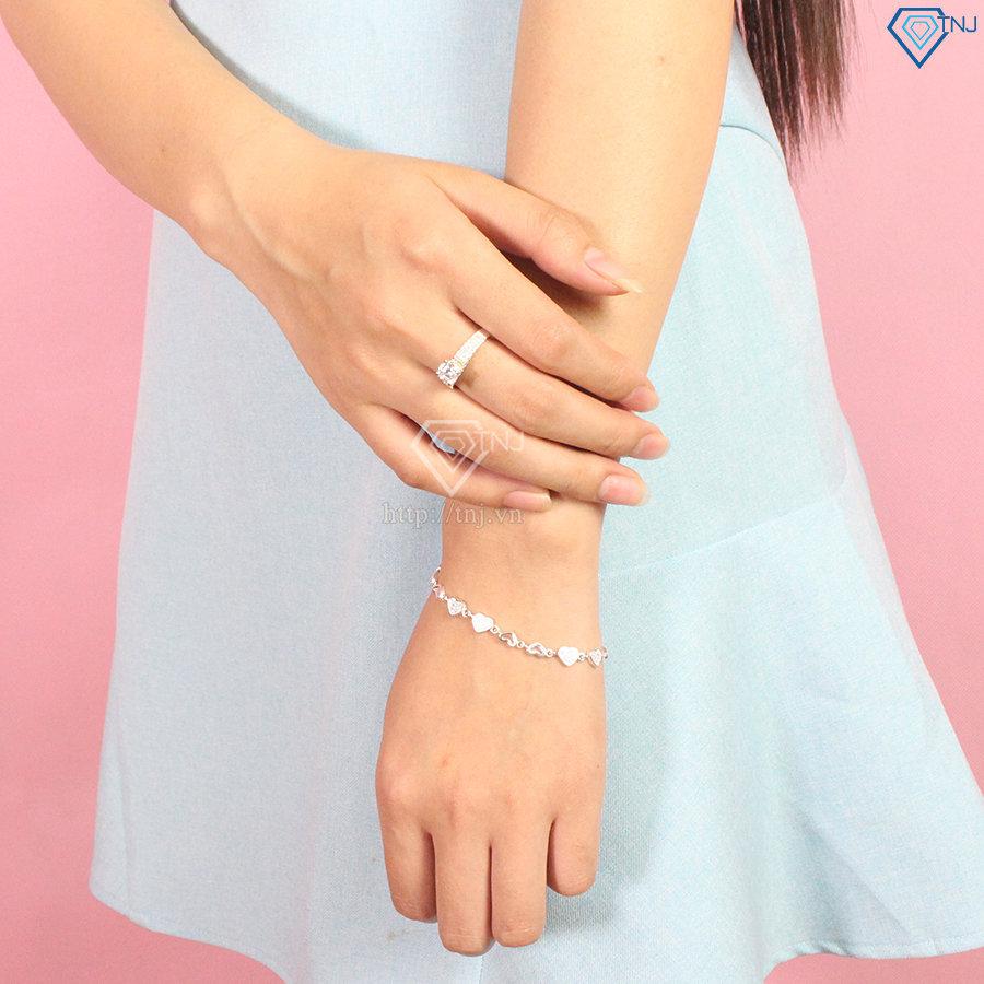 Lắc tay bạc nữ trái tim đính đá đẹp LTN0138