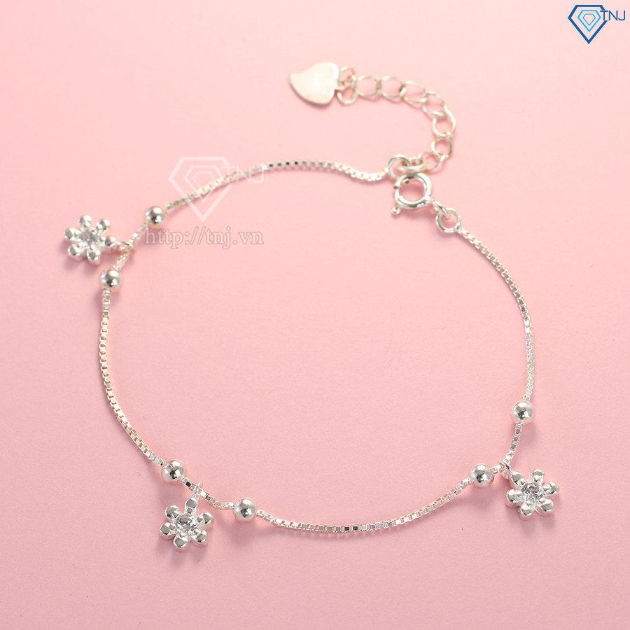 Lắc tay bạc nữ hình bông hoa đẹp LTN0140