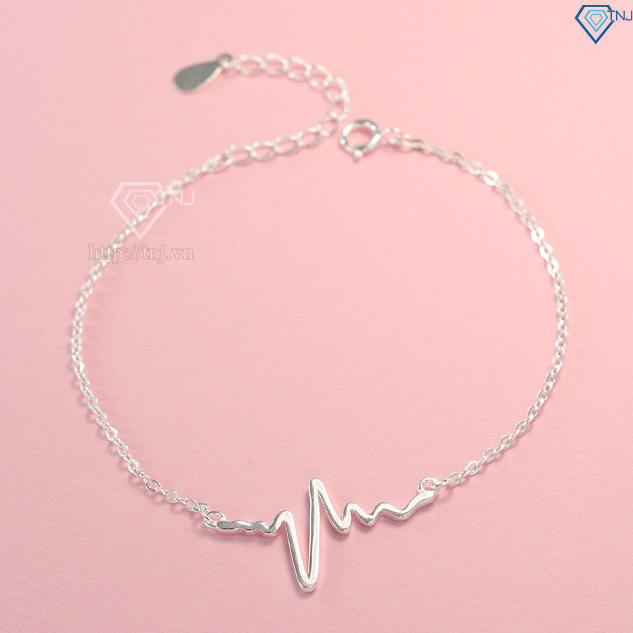 Lắc tay bạc nữ nhịp tim đơn giản LTN0142