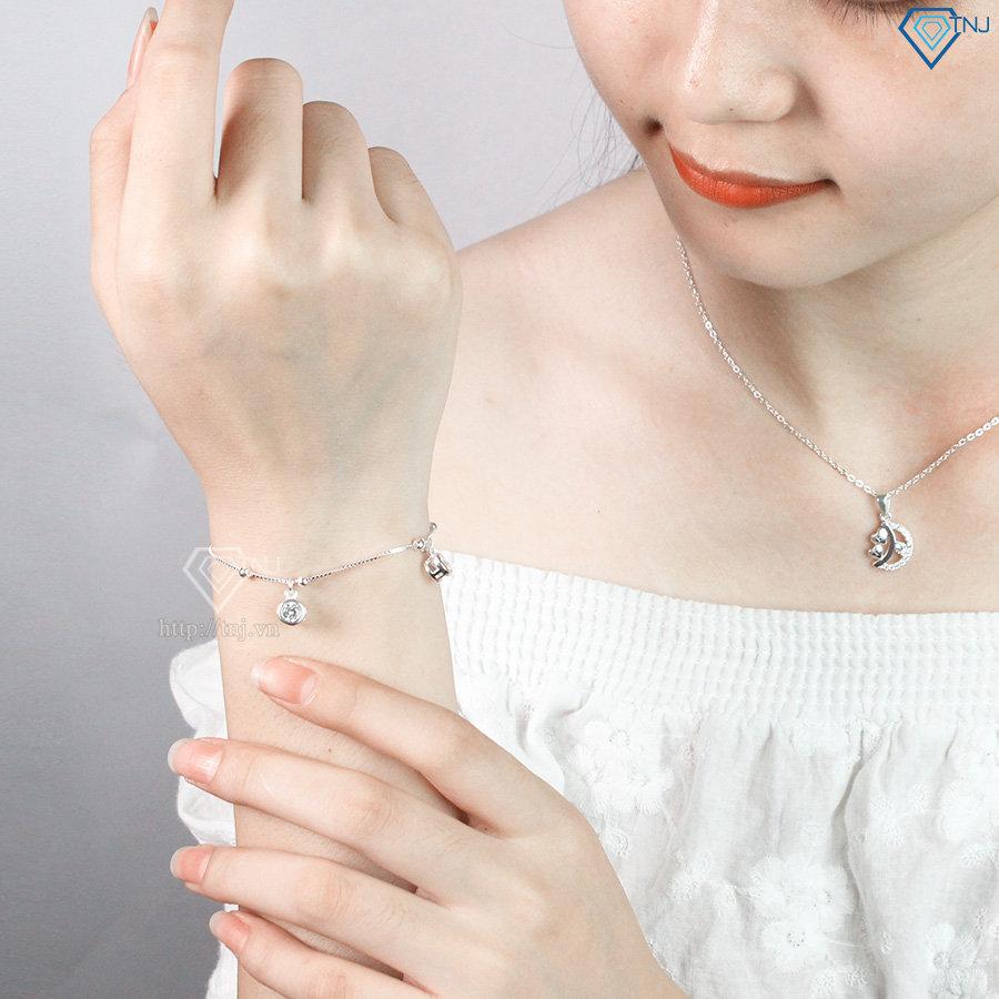 Lắc tay bạc nữ họa tiết hình tròn đính đá đẹp LTN0150