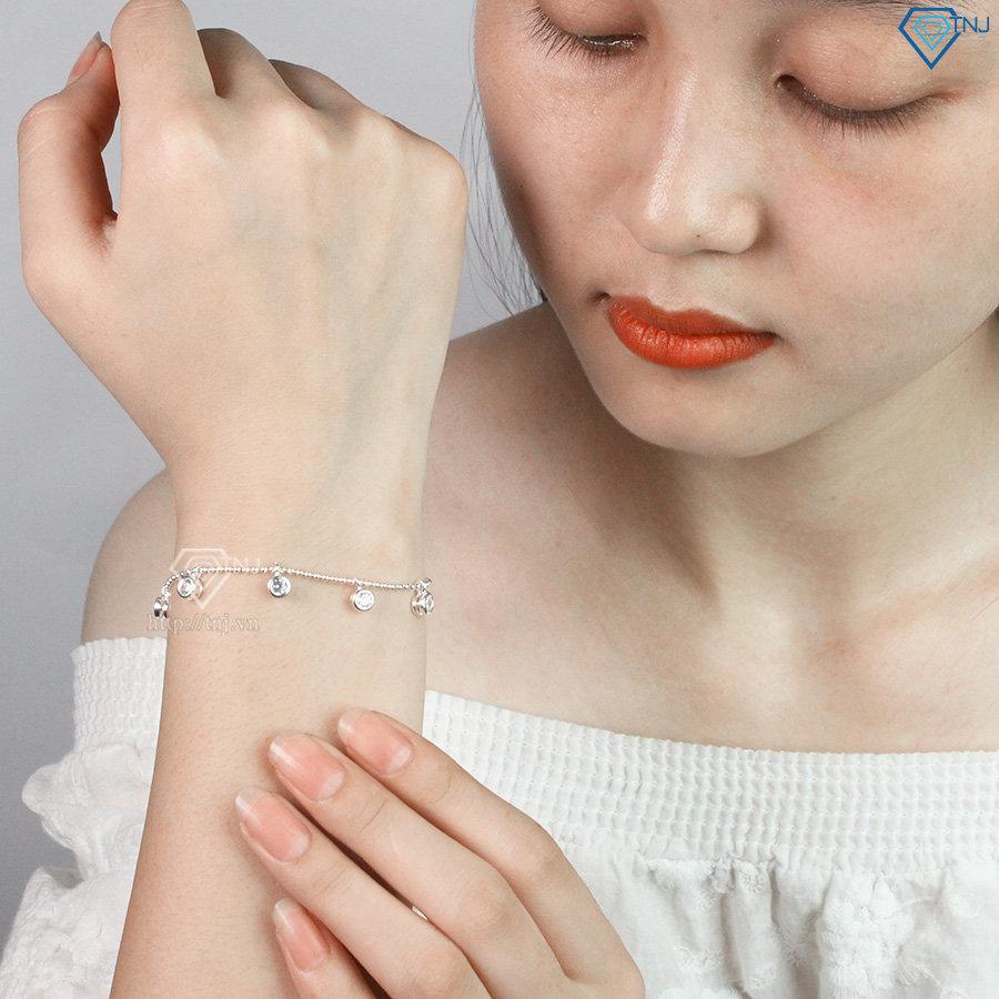 Lắc tay bạc nữ họa tiết hình tròn đính đá đẹp LTN0158