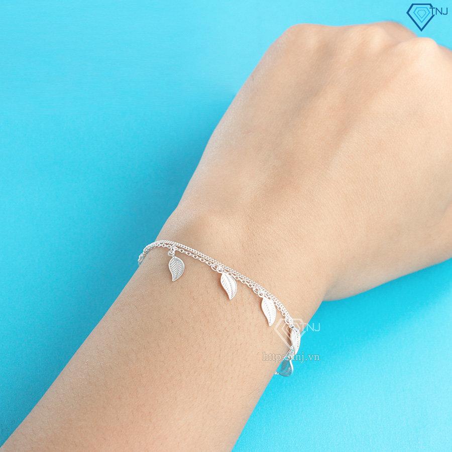 Lắc tay bạc nữ Hà Nội họa tiết chiếc lá LTN0167