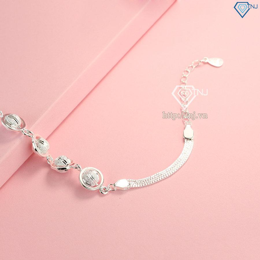 Lắc tay bạc hạt tròn cho nữ sang trọng LTN0175