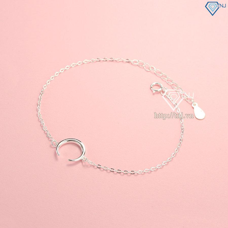 Vòng tay bạc nữ giá rẻ hình mặt trăng LTN0179