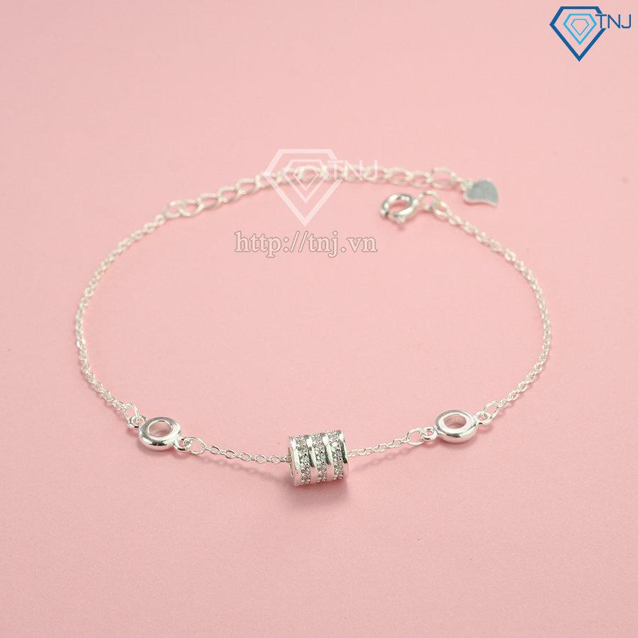 Lắc tay bạc cho nữ họa tiết hình trụ LTN0186