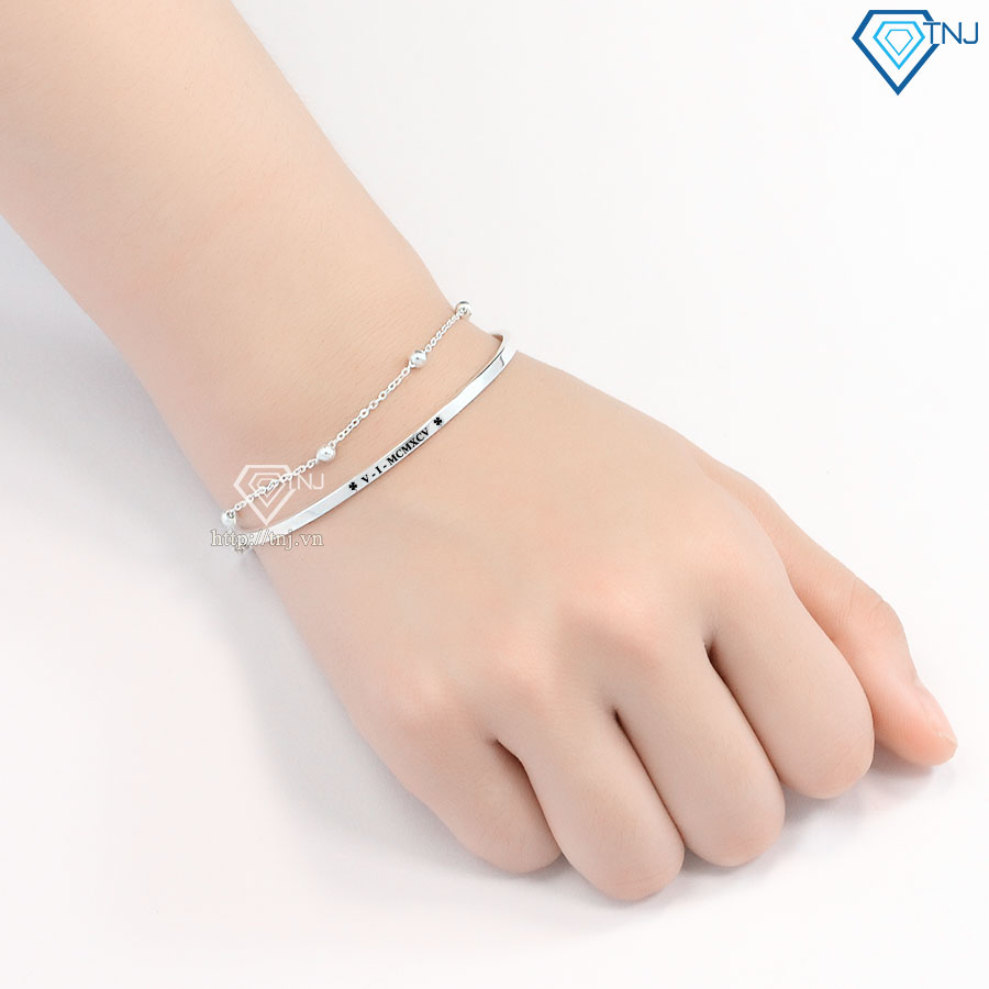 Lắc tay bạc nữ dạng kiềng khắc tên LTN0194