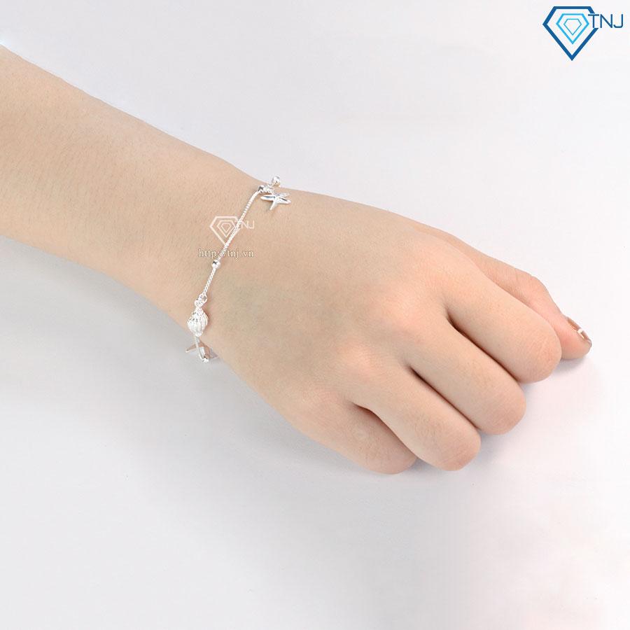 Lắc tay nữ bạc 925 họa tiết hình ốc và sao biển LTN0208