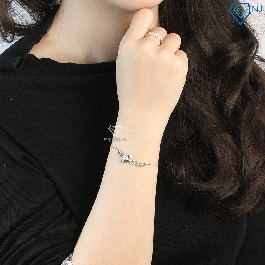 Vòng tay hồ ly bạc xi bạch kim LTN0215