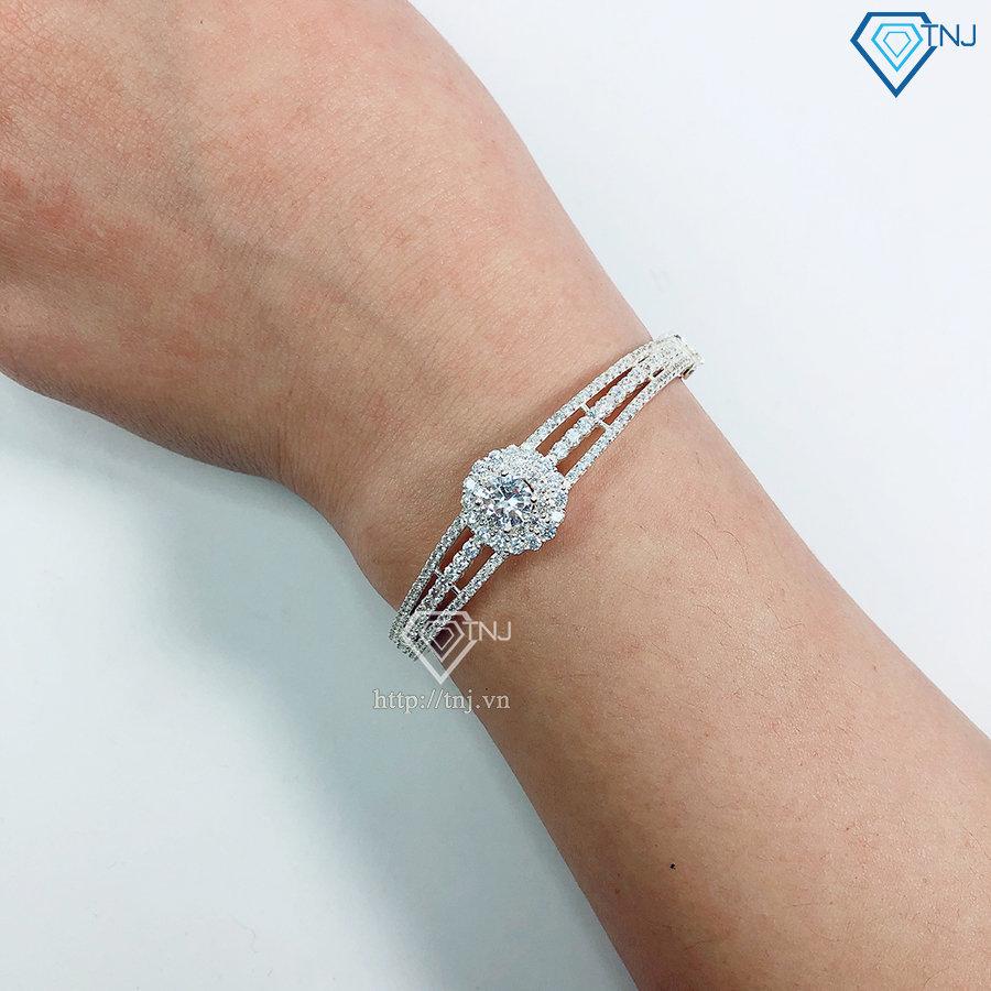 Lắc tay bạc nữ dạng kiềng đính đá LTN0216