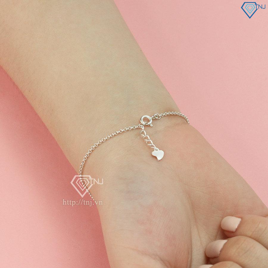 Lắc tay bạc nữ hình trái tim khắc tên LTN0236