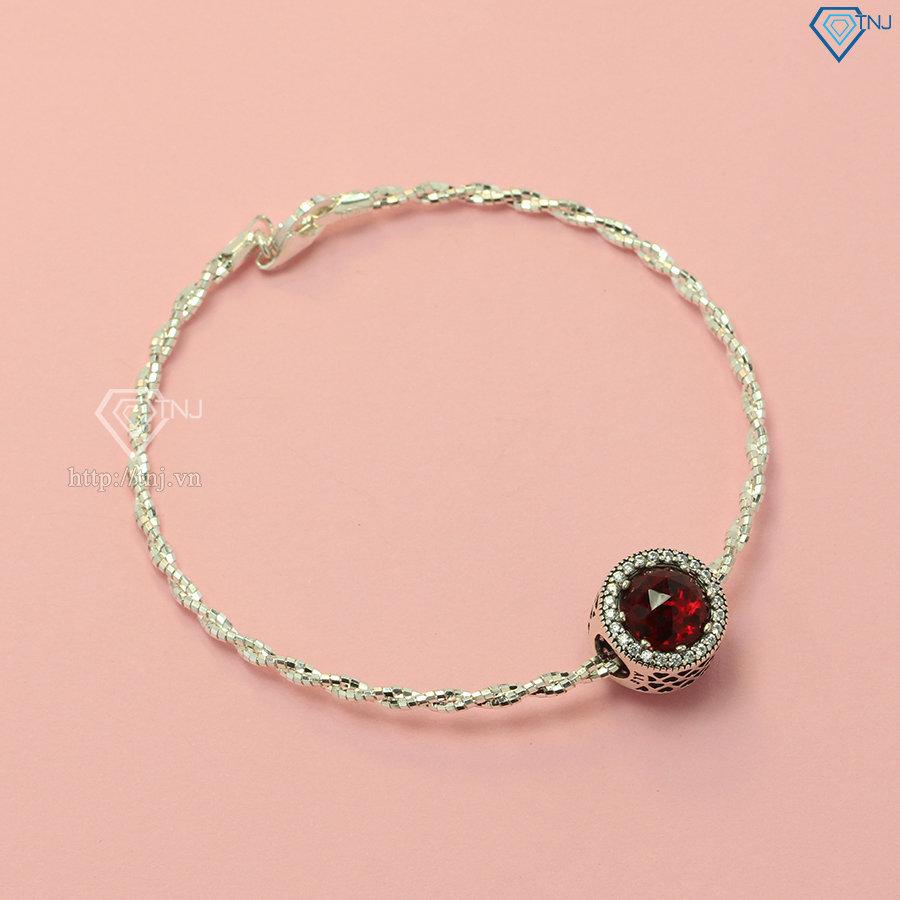 Lắc tay charm bạc đơn giản đính đá đỏ LTN0242