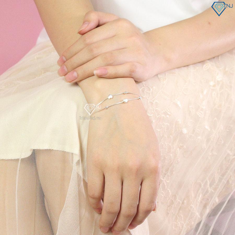 Lắc tay bạc nữ hình trái tim LTN0246