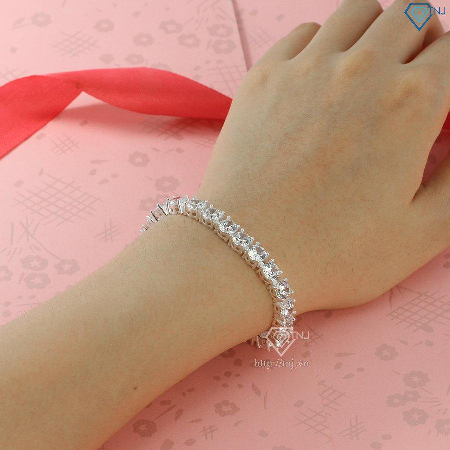 Lắc tay Tennis bạc cho nữ đính đá LTN0247