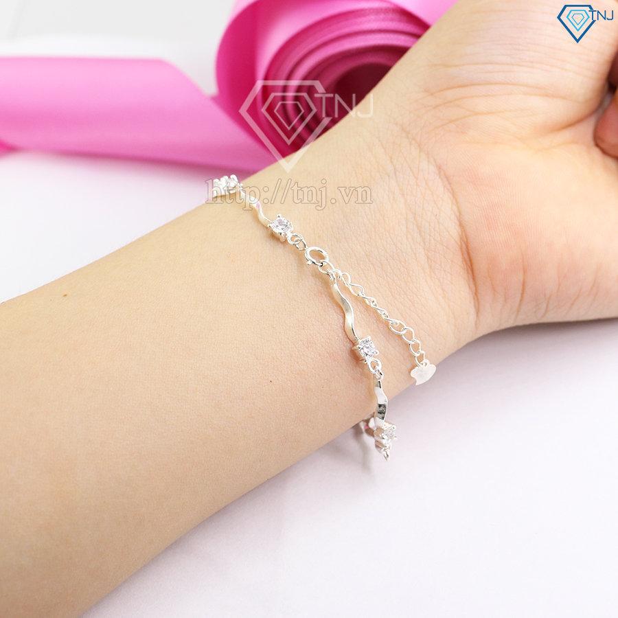 Lắc tay bạc nữ kiểu dáng dây xoắn đẹp LTN0022
