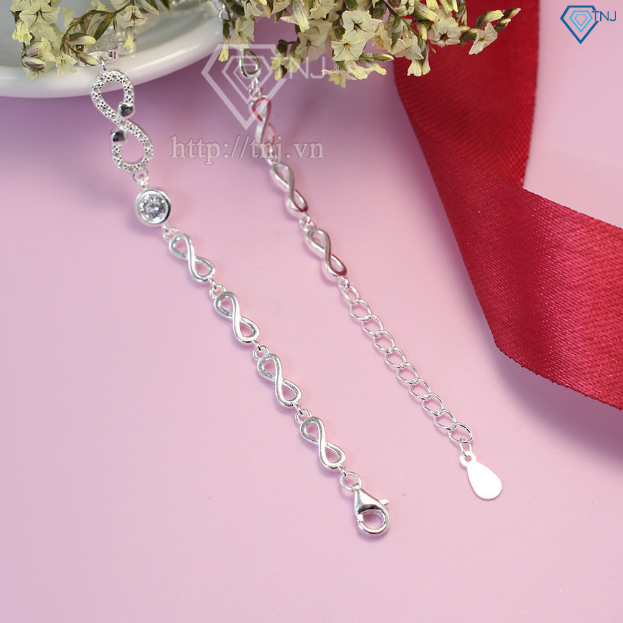 lắc tay bạc nữ hình cỏ 4 lá dây họa tiết vô cực LTN0130