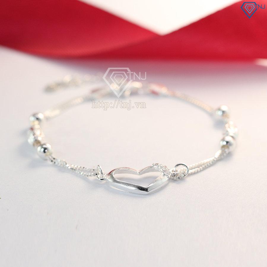 Lắc tay bạc nữ hình trái tim đẹp LTN0126