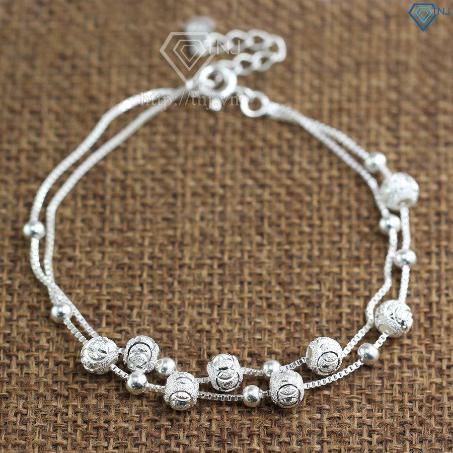Lắc tay bạc nữ họa tiết viên bi bạc LTN0101