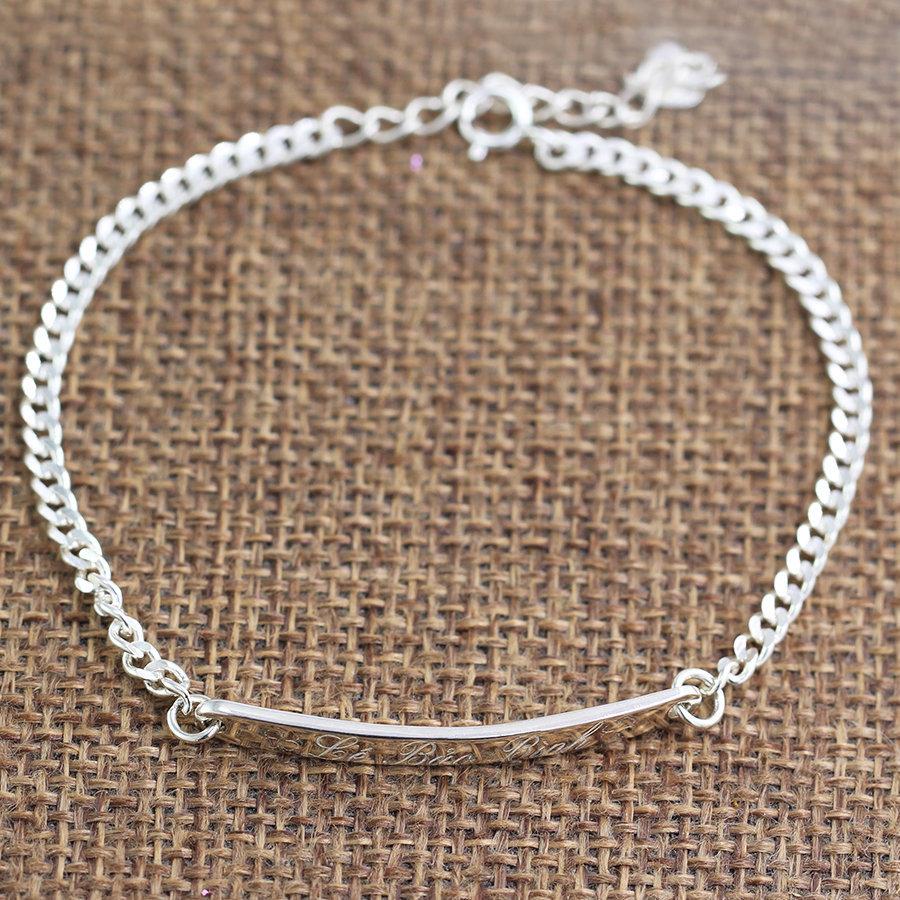 lắc tay bạc nữ khối lập phương đính đá trắng tinh khiết  LTN0094