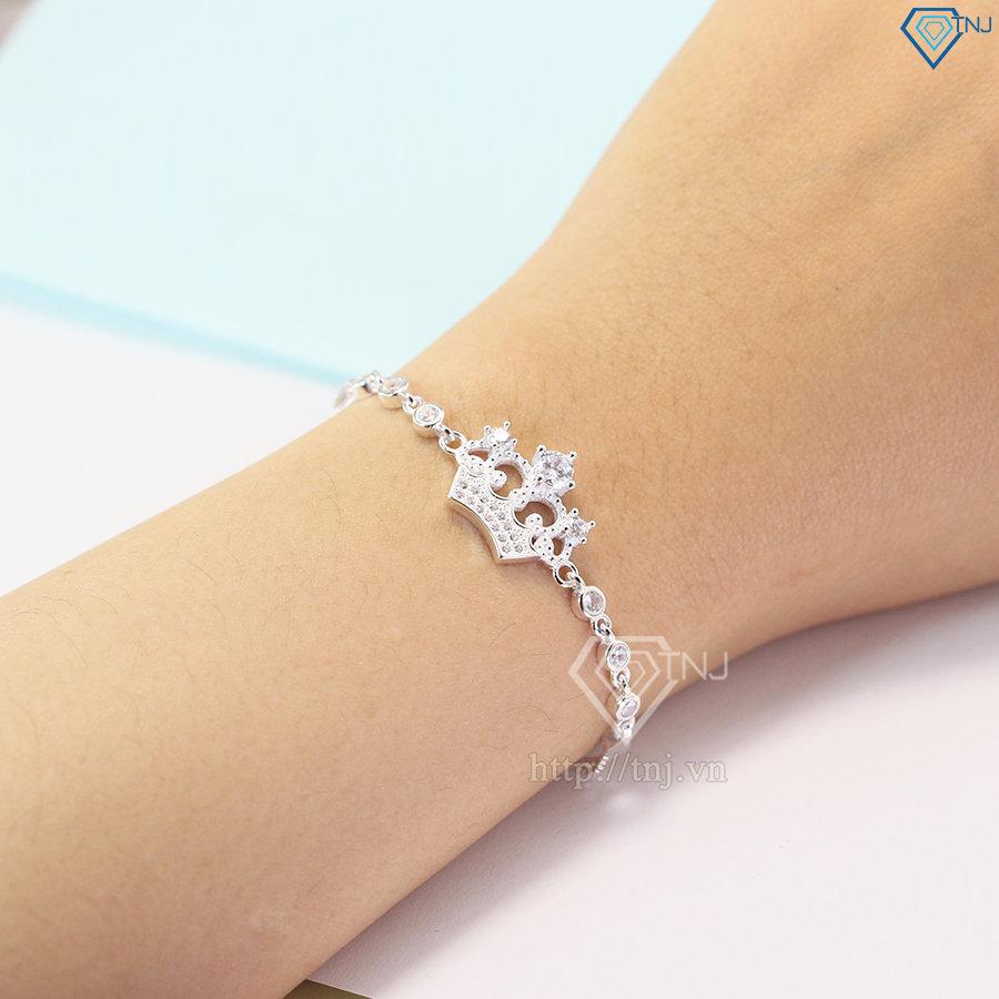 Lắc tay bạc nữ hình vương miện đính đá đẹp LTN0125