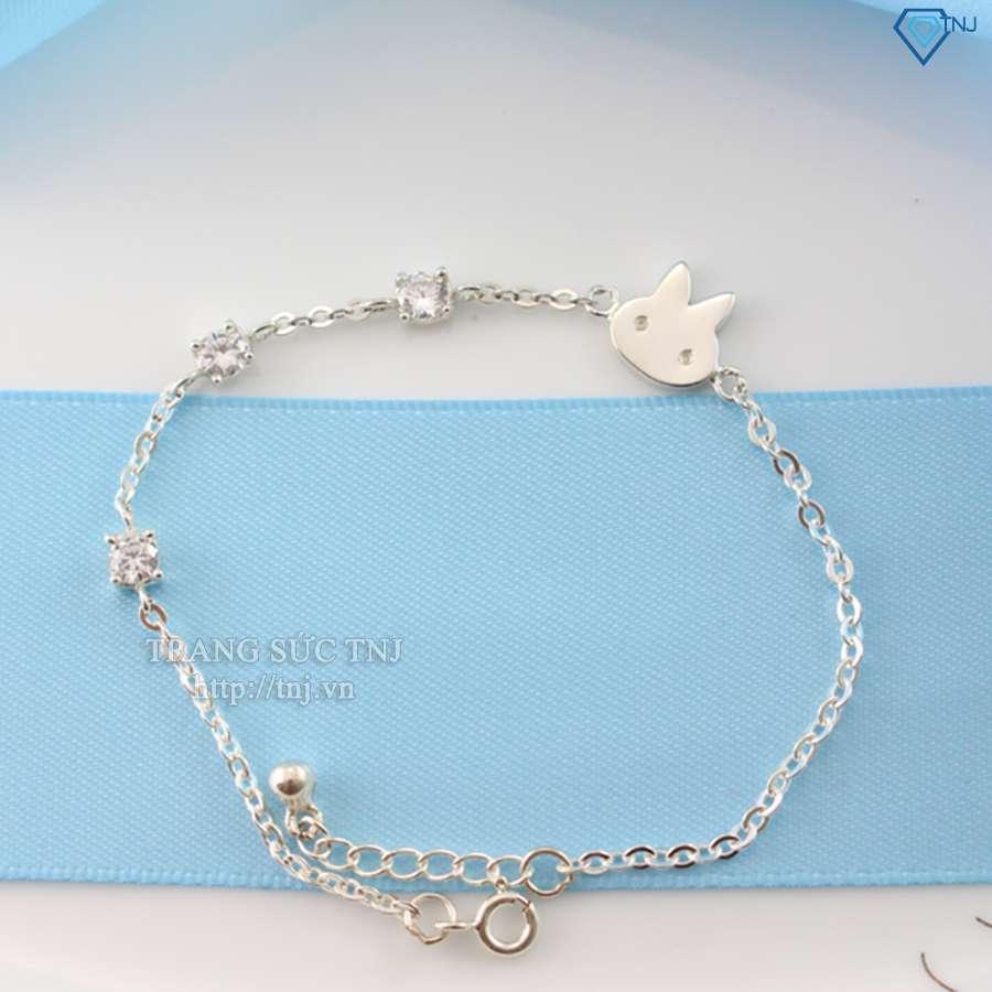 lắc tay bạc nữ mặt mèo dễ thương ltn0079