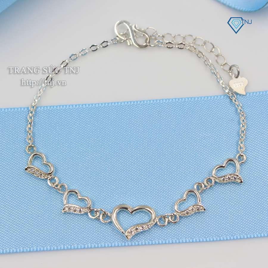 lắc tay bạc nữ hình trái tim đính đá ltn0086