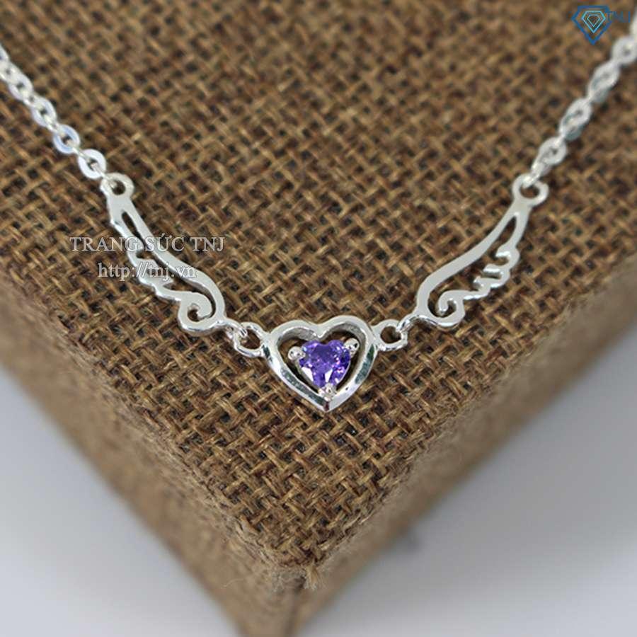 lắc tay bạc nữ hình trái tim đính đá tim ltn0088