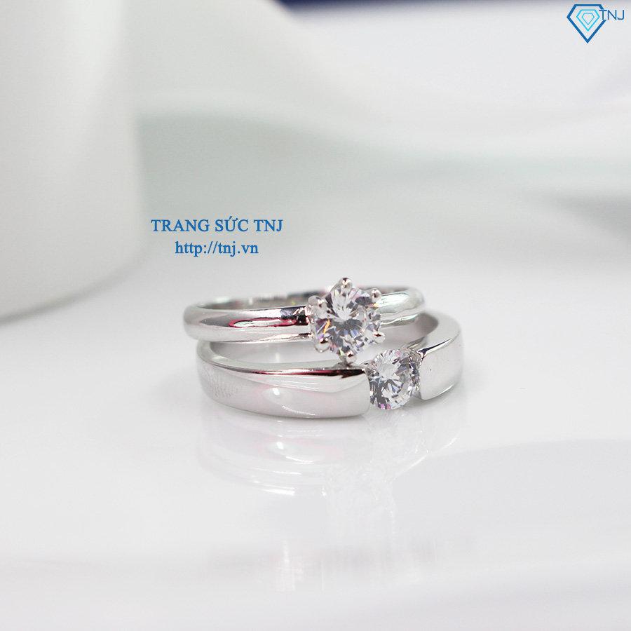 Nhẫn đôi bạc nhẫn cặp bạc đẹp đính đá tinh tế ND0012