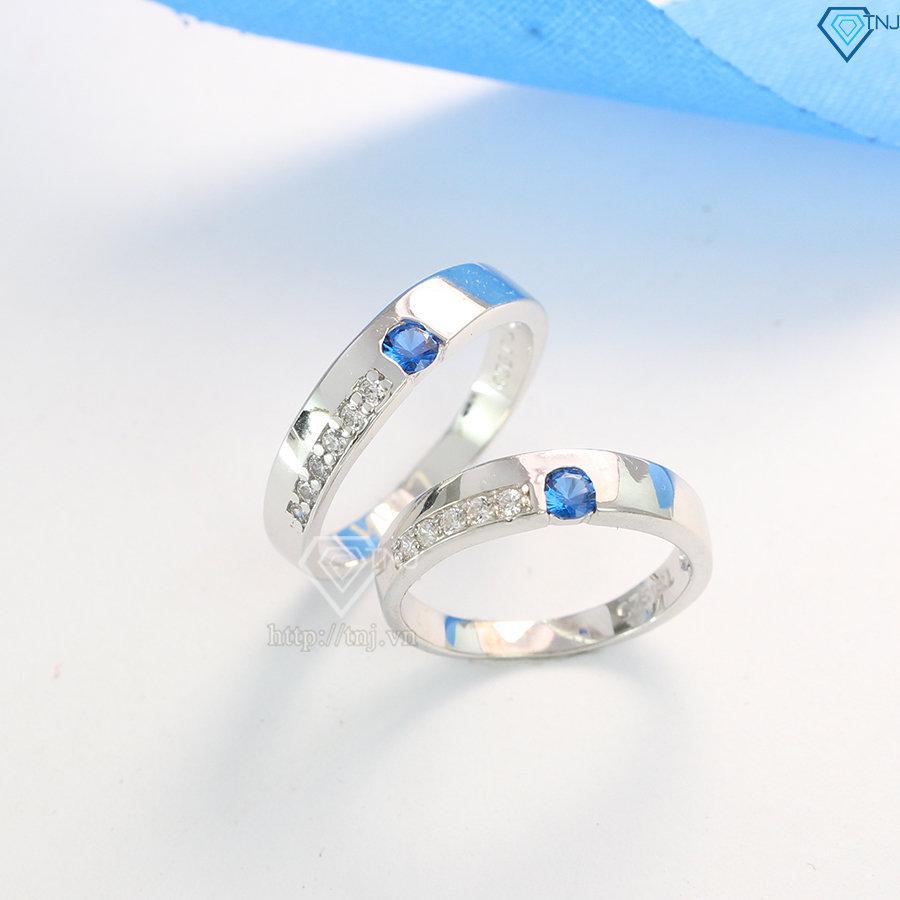 Nhẫn đôi bạc nhẫn cặp bạc đẹp đính đá xanh dương ND0073