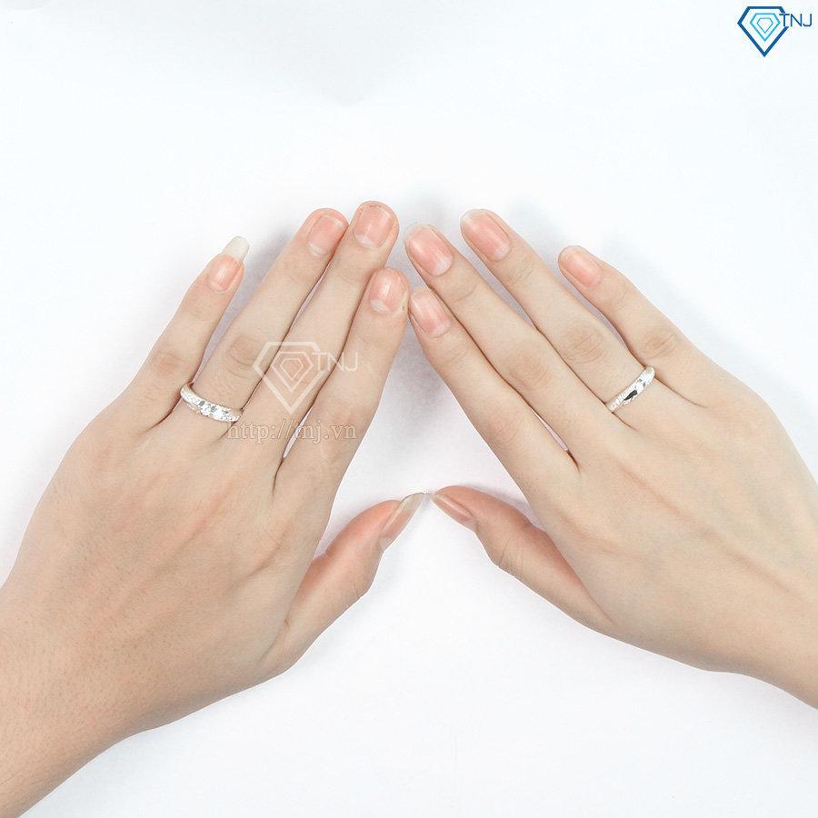 Nhẫn đôi bạc nhẫn cặp bạc đẹp đính đá tinh tế ND0080