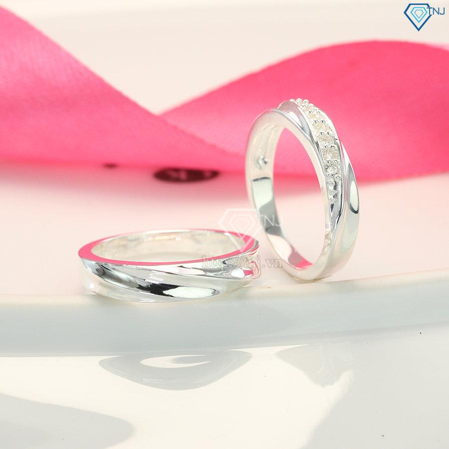 Nhẫn đôi bạc nhẫn cặp bạc đẹp tinh tế ND0092