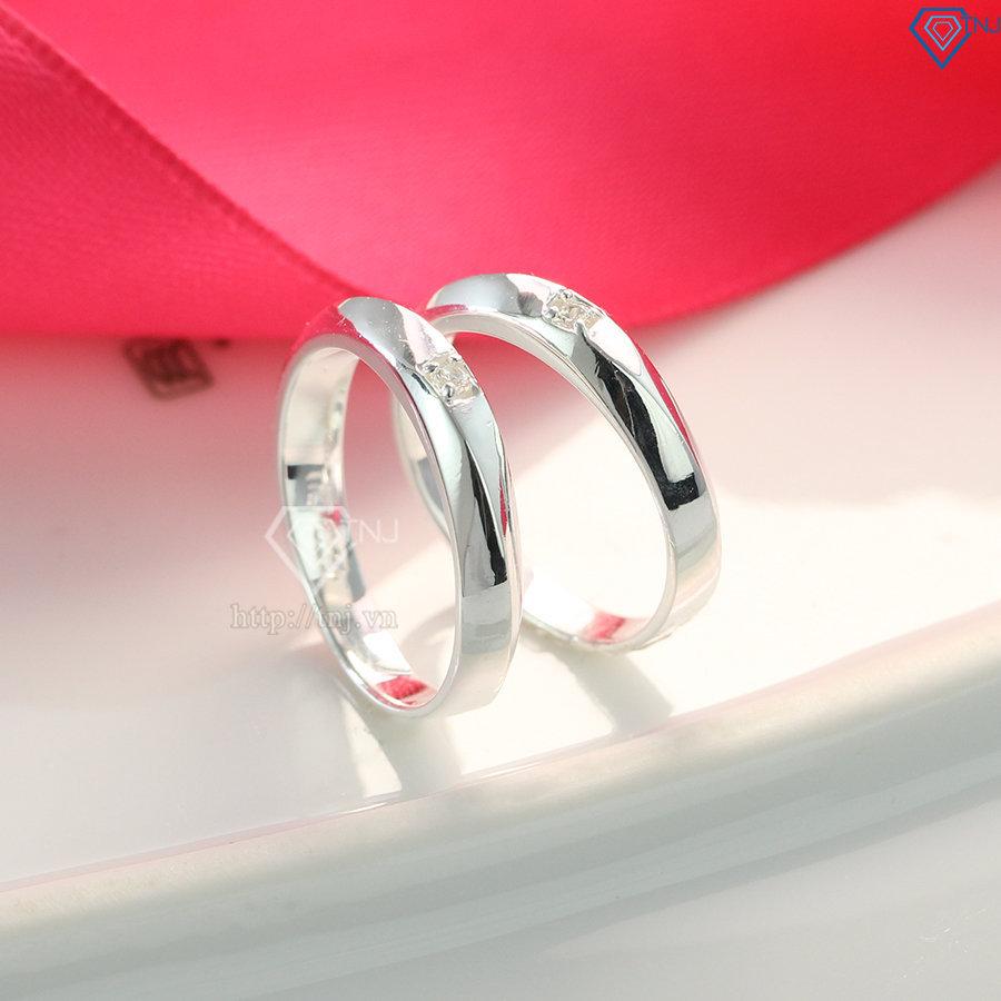 Nhẫn đôi bạc nhẫn cặp bạc đẹp đơn giản ND0096
