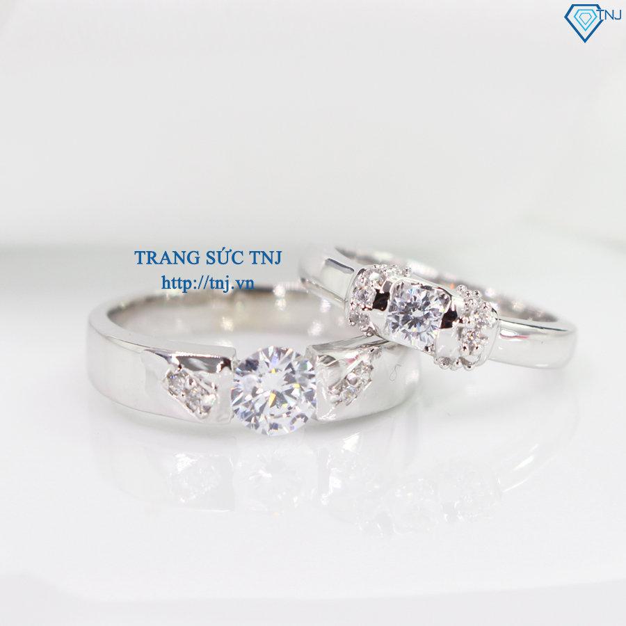 Nhẫn đôi bạc nhẫn cặp bạc đính đá tinh tế ND0112