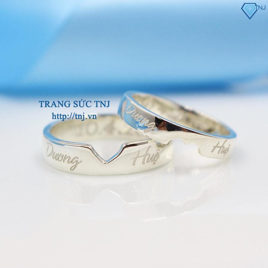 Nhẫn đôi bạc nhẫn cặp bạc khắc tên trái tim ghép ND0126