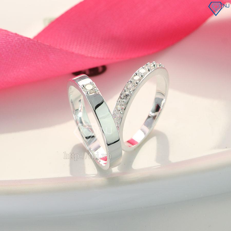 Nhẫn đôi bạc nhẫn cặp bạc đẹp đơn giản tinh tế ND0135