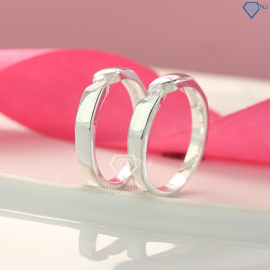 Nhẫn đôi bạc nhẫn cặp bạc đơn giản ND0138