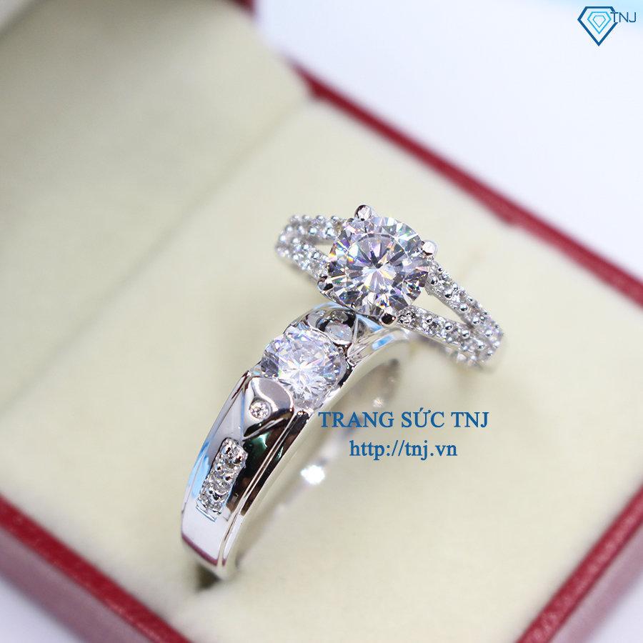 Nhẫn đôi bạc nhẫn cặp bạc đính đá sang trọng ND0144