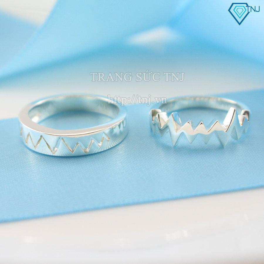 Nhẫn đôi bạc nhẫn cặp bạc đẹp nhịp tim ND0145