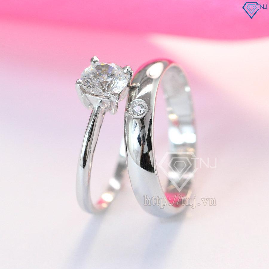 Nhẫn đôi bạc nhẫn cặp bạc đẹp đính đá ND0147