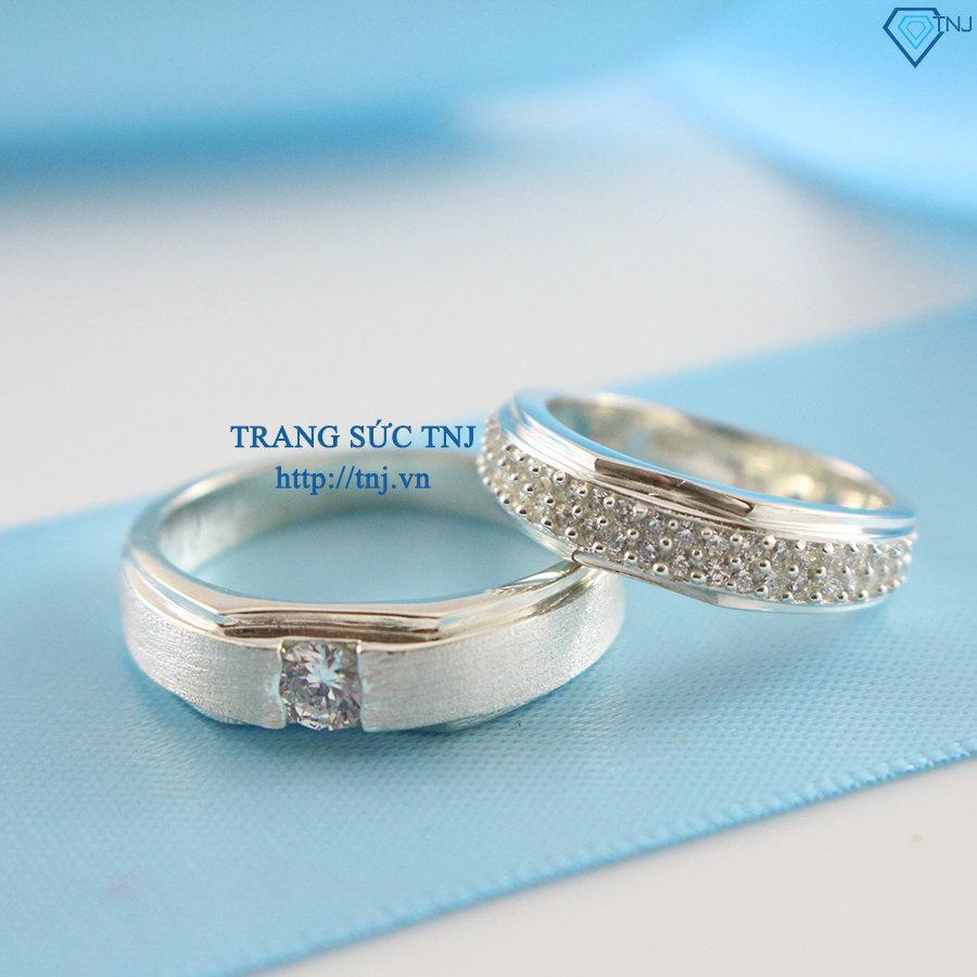 Nhẫn đôi bạc nhẫn cặp bạc đính đá đẹp ND0154