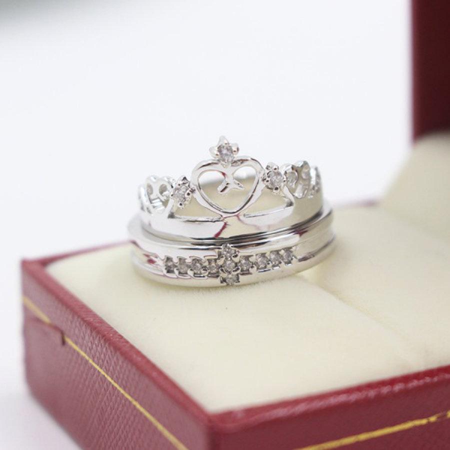 nhẫn đôi bạc king queen