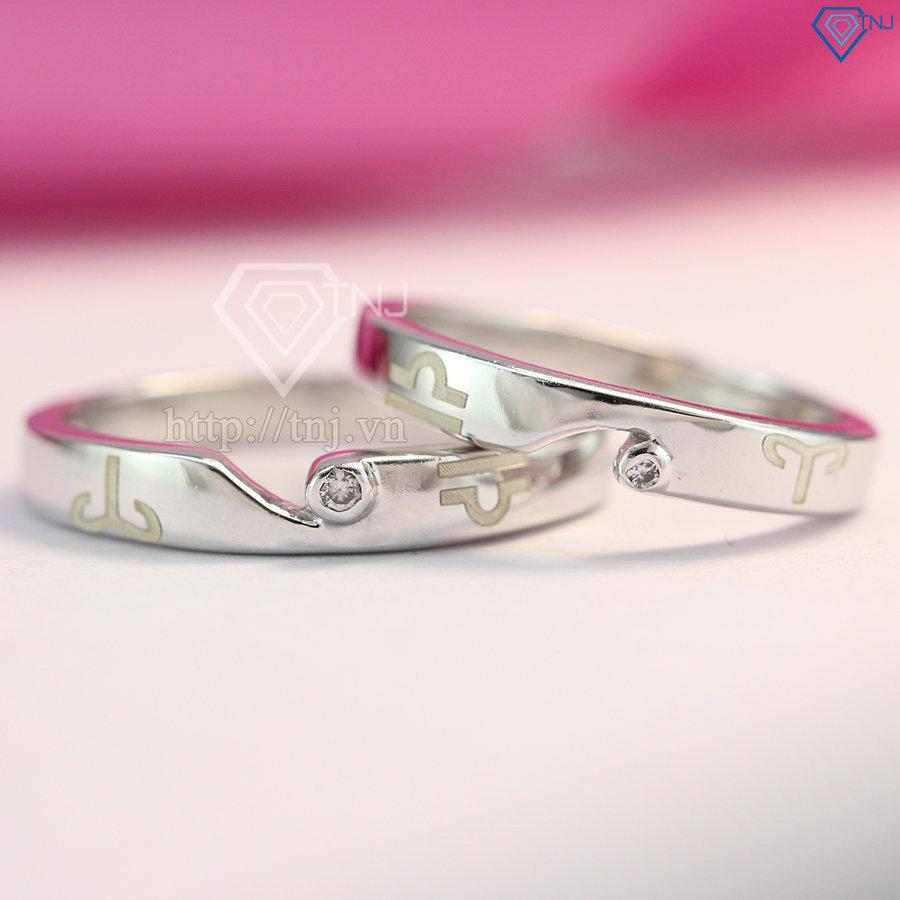 Nhẫn đôi bạc nhẫn cặp bạc khắc tên ND0170