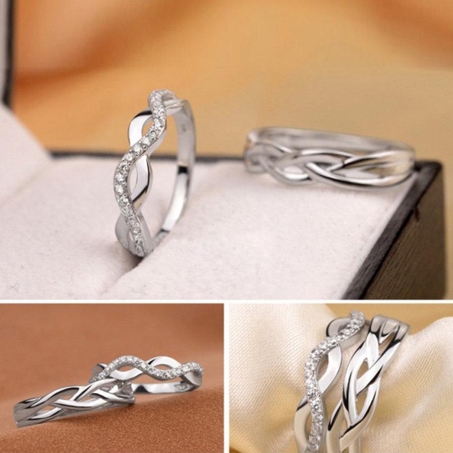 Nhẫn đôi bạc nhẫn cặp bạc vô cực ND0172