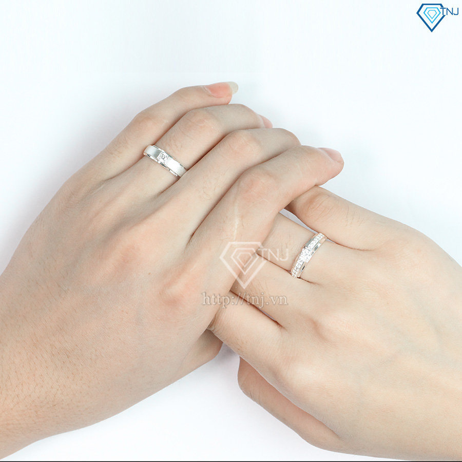 Nhẫn đôi bạc nhẫn cặp bạc đẹp khắc tên ND0176